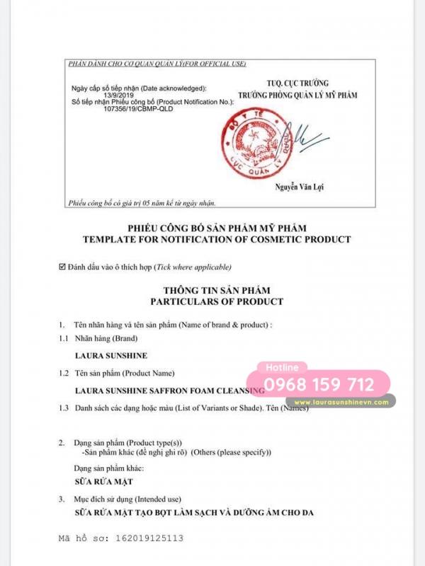 [Certificate] Saffron foaming cleanser