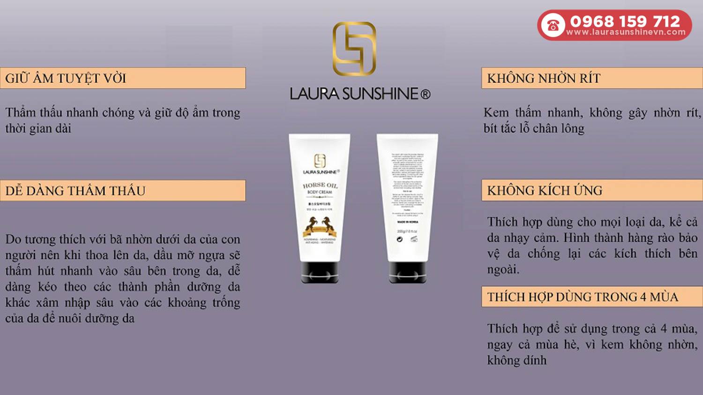 Thành phần Kem dưỡng Body dầu ngựa Laura Sunshine - Horse Oil Body Cream 2
